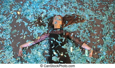 confetti, jeune, ange, neige, bleu, femme
