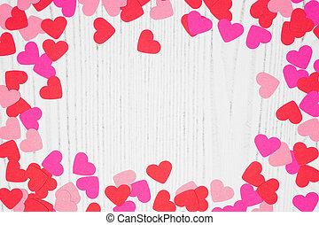 confetti, jour, cadre, fond, valentines, blanc, bois, coeur, espace copy, sur