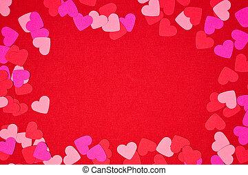 confetti, jour, cadre, fond, valentines, coeur rouge, espace copy, sur
