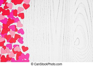 confetti, jour, frontière, fond, valentines, blanc, côté, bois, coeur, espace copy, sur