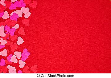 confetti, jour, frontière, fond, valentines, côté, coeur rouge, espace copy, sur