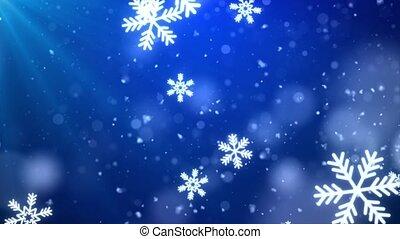 confetti, lumières, 4k, bleu, bokeh, flocons neige, arrière-plan.