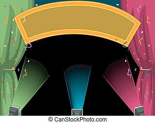 confetti, lumières, bannière, étape