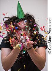 confetti man on party