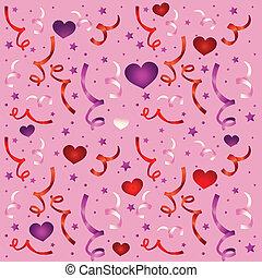 confetti, modèle, amour, seamless