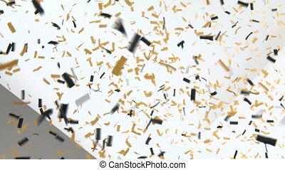 confetti, mur, blanc, tomber