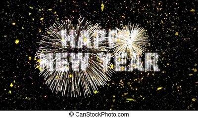 confetti, nieuw, vuurwerk, jaar