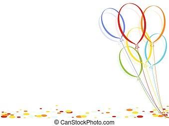 confetti, partia, balony, barwny