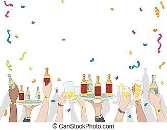 confetti, partido, bebidas
