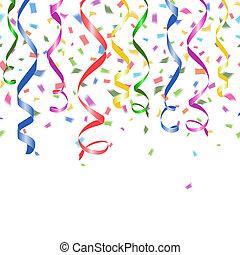 confetti, partido, girado, streamers, coloridos
