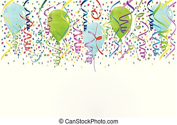 Confetti party balloons background