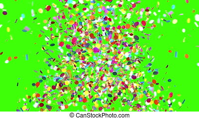 Confetti Party Popper Explosion on a Green Background. 3d...