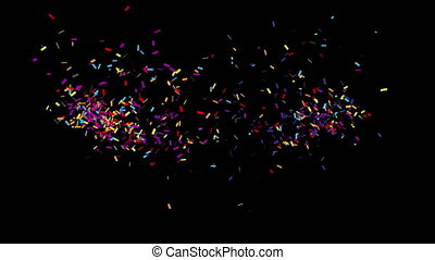 Confetti Party Popper Explosions on a Black Background. 3d animation, 4K.