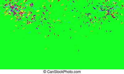 Confetti Party Popper Explosions on a green background. 3d animation. Green screen. 4K.