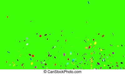 Confetti Party Popper Explosions on a Green Background, Two...