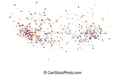 Confetti Party Popper Explosions on a White Background. 3d animation, 4K.
