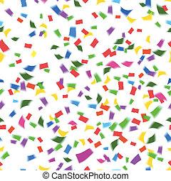 confetti, queda, padrão, vibrante, seamless