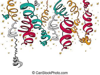 confetti, rubans, isolé, fetes