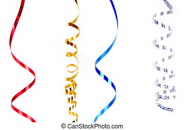 confetti serpentine ribbon isolated on white