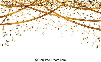 confetti, spadanie, złoty