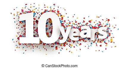 confetti, teken., papier, tien, jaren