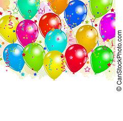 confetti, texte, espace, fête, ensemble, ballons