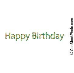 confetti, tytuł, urodziny, barwny, szczęśliwy