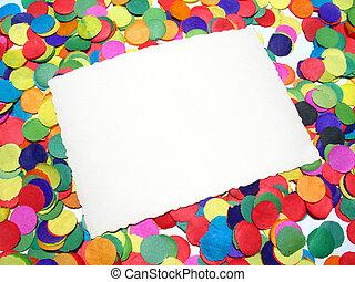 confetti, ułożyć