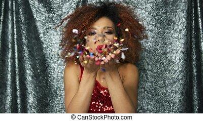 confetti, vrouw, blazen, ethnische