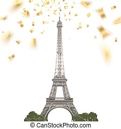 Confetti with eiffel tower.