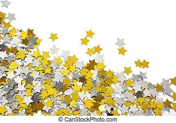 confetti, złoty, gwiazda, srebro