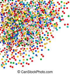 confetti, złoty, wężowaty, barwny, dobrany