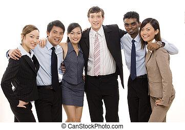 confiado, 4, equipo negocio