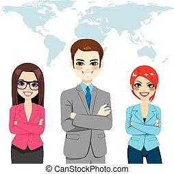 confiado, businesspeople, global, equipo