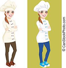 confiado, chef, mujer estar de pie