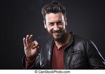 confiado, cigarro, moderno, hombre