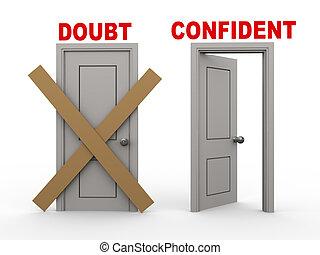 confiado, duda, puertas, 3d