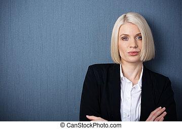 confiado, ejecutivo, hembra, empresa / negocio