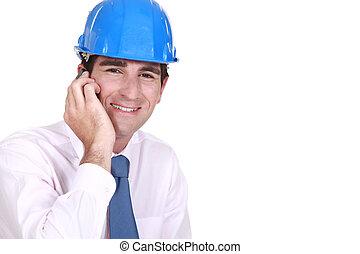 confiado, empresario, teléfono