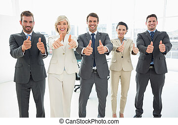 confiado, equipo negocio, el gesticular, pulgares arriba