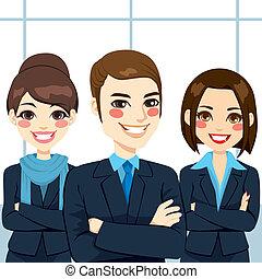 confiado, equipo negocio