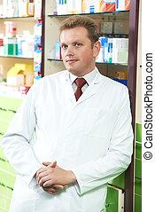 confiado, farmacia, químico, hombre, en, farmacia