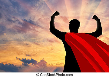 confiado, fuerte, silueta, superhombre, hombre de negocios