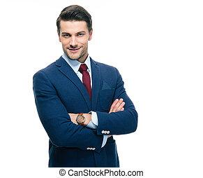 confiado, hombre de negocios, con, brazos doblados