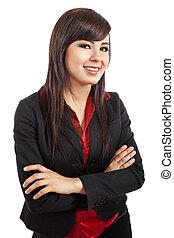 confiado, joven, mujer de negocios