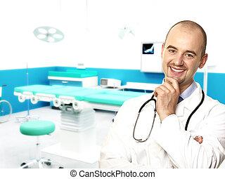 confiado, médico joven