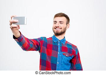 confiado, móvil, joven, teléfono, hombre, alegre, selfie, ...