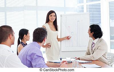 confiado, mujer de negocios, hacer, un, presentación