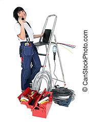 confiado, mujer, electricista