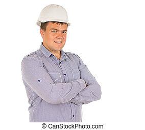 confiado, o, arquitecto, amistoso, ingeniero